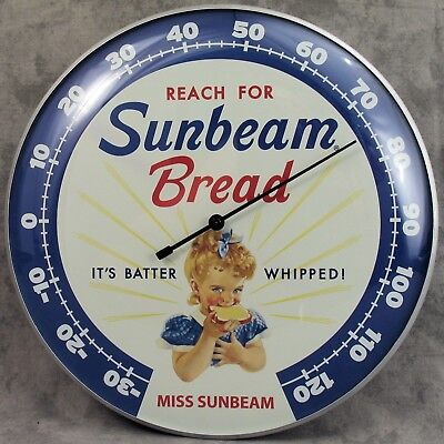 "Sunbeam Bread Miss Sunbeam Thermometer 12"" Round Glass Dome Sign"