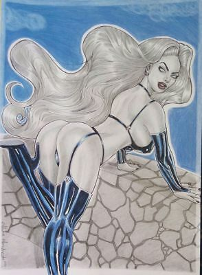 LADY DEATH 2 BY ALINE ANDRADE- ART PINUP Drawing Original