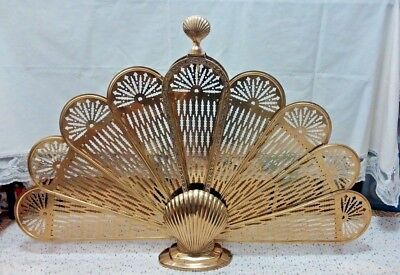 Vintage Brass Peacock Fan Fireplace Screen*Clam Shell Base & Top*Ornate Center*