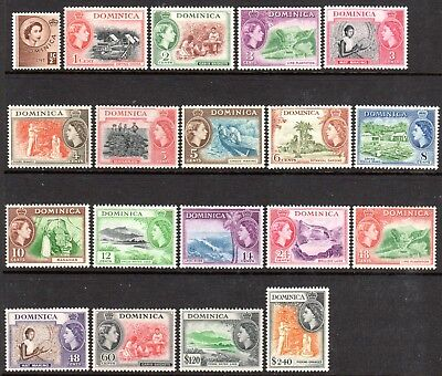 1954 DOMINICA DEFINITIVES PICTORIALS SG140-158 mint unhinged