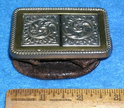 Antique VICTORIAN 1890s NICKEL-PLATED BRASS & LEATHER CHANGE PURSE Hinged Doors