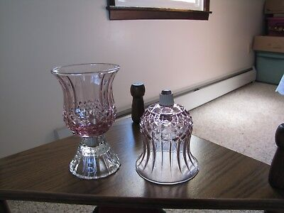"Pair (2) Home Interior Homco Pink Cathedral Votive Cups w/Grommets. 4"" Tall"