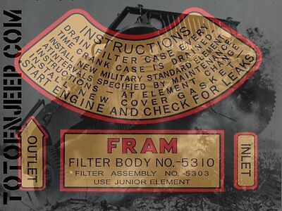 Decalcomanie decal filtre huile FRAM TYPE 1 military dodge wc ww2
