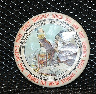 Duffy's Pure Malt Whiskey 2 Inch Advertising Mirror Early 20Th Century Vg/ex