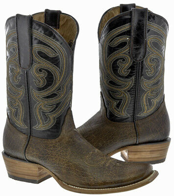 Men's Rustic Brown Distressed Leather Cowboy Boots Western Casual Dubai Toe