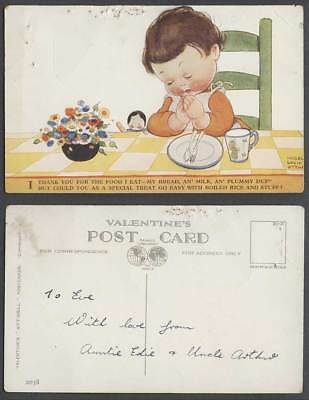 MABEL LUCIE ATTWELL Old Postcard Girl Prayer Think You for Food I Eat Treat 2038