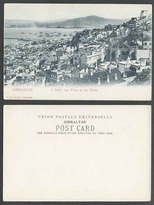 Gibraltar Old U.B. Postcard Bird's Eye View of Town Boats Harbour Pier Panorama