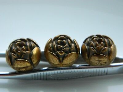 Lot of three matching Vintage metalized BUTTONS ROSE SHAPE