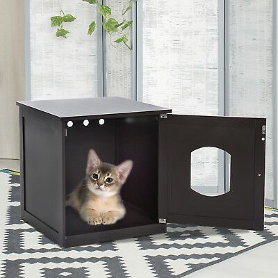 PawHut Pet Cat House Litter Washroom Door Box Enclosure Furniture Wooden Brown