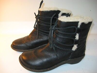 7dfb03205b5 UGG AUSTRALIA CASPIA Women's Black Leather Shearling Insulated Boots 1932 -  US 7