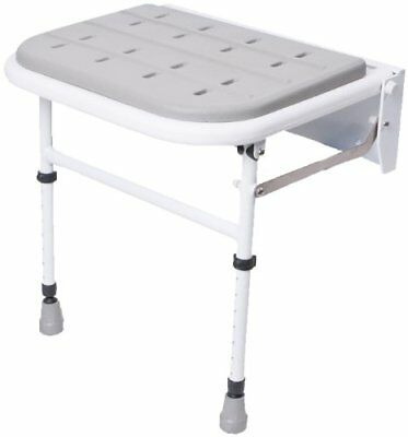 Wall Mounted Folding Shower Seat– Padded With Legs eligible For Vat Relief In