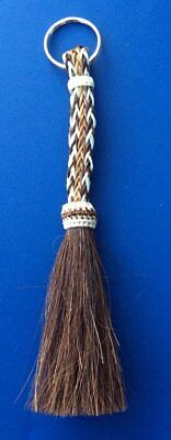 Western Equestrian Jewelry Black/Brown/White Horsehair Key Ring With Tassel