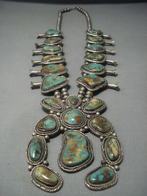 Vintage Navajo Yazzie Green Turquoise Sterling Silver Squash Blossom Necklace