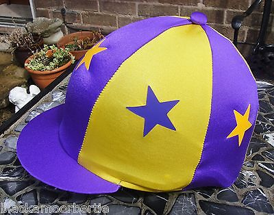 Lycra Riding Hat Silk Skull cap Cover PURPLE & YELLOW * STARS With OR w/o Pompom