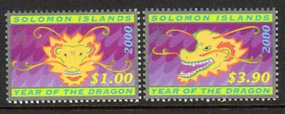 2000 SOLOMON ISLANDS CHINESE NEW YEAR DRAGON SG966-967 mint unhinged