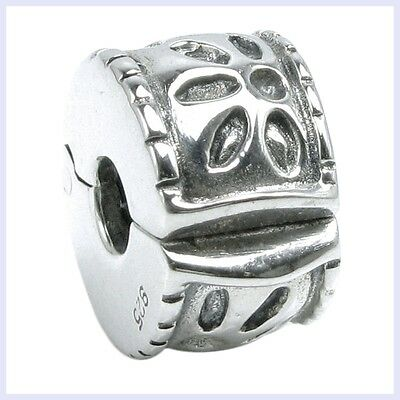 925 Sterling Silver Flower Leaf Clip Lock Clasp Bead for European Charm Bracelet