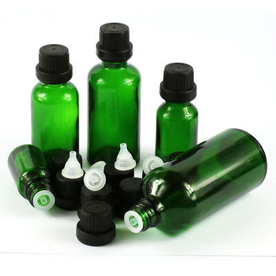 Wholesale 5~100ML Green Glass Thick with Cap Dropper Essential Oil Bottles Vial