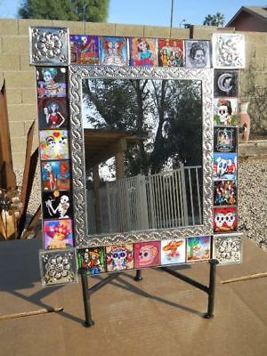 MIRROR punched tin Day of the Dead Tile collectable Mexican folk art pottery BIG