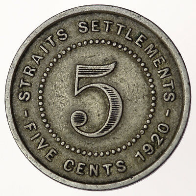 1920 Straits Settlements 5 Cents ~ KM#34 George V British Colonial