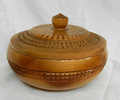 Vintage Hand Turned and Carved Round Wooden Box / Bowl with Lid