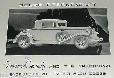 1931 Chrysler and Dodge advertisements, 2-sided ad page, coupes & sedans