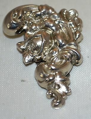 Vintage Flowered with Curled Leaves Ornate Design Silver Tone  Metal Dress Clip