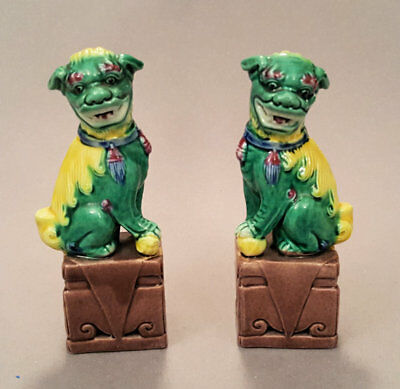 Pair of Chinese Painted Fu dog figurines, early 20th Century.