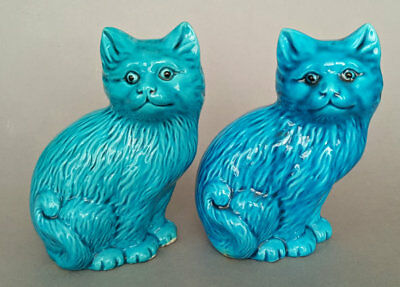 Pair of Chinese blue glazed cat figurines, early 20th Century.