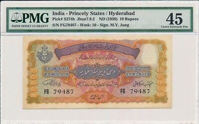 Hyderabad India-Princely States  10 Rupees nd(1939)  PMG  45