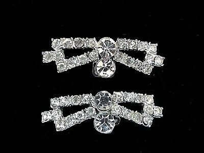 VINTAGE 1960s SPARKLING CRYSTAL CLEAR RHINESTONE SHOE CLIPS