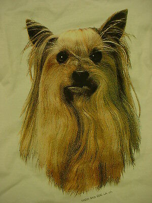 YORKSHIRE TERRIER PEOPLE T SHIRT puppy dog ADULT SIZE MEDIUM white tee YORKIE