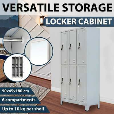 vidaXL 6 Door Steel Locker Cabinet Office School Storage Gym Sport Changing Room