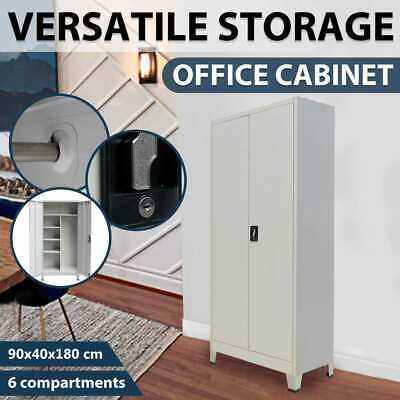vidaXL Steel Filing Cabinet Office Home Stationary Storage Cupboard Locker 180cm