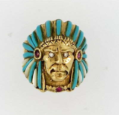 Very Rare 14k Gold Diamond Ruby Turquoise Johnny Blue Jay Hopi Indian Chief Ring