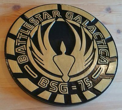 Battlestar Galactica 3D routed  carved TV wood bar prop sci fi New