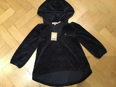 NWT Juicy Couture New Genuine Girls Age 10 Blue Velour Hoody With Juicy Logos
