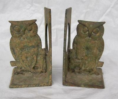 """OWL Pair of Bookends SET Antique Brass or Bronze Metal Very Heavy 6"""" Unique Cute"""