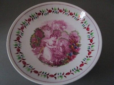 Antique Early 1800's Transfer Ware Bowl Girl w Cat Faience Girls room wall decor