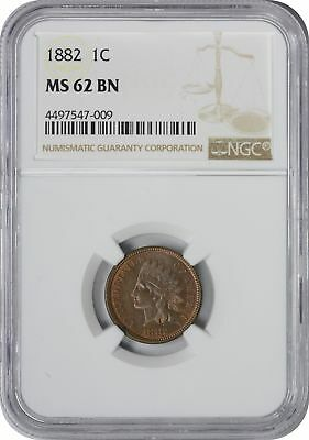1882 Indian Cent MS62BN NGC Mint State 62 Brown
