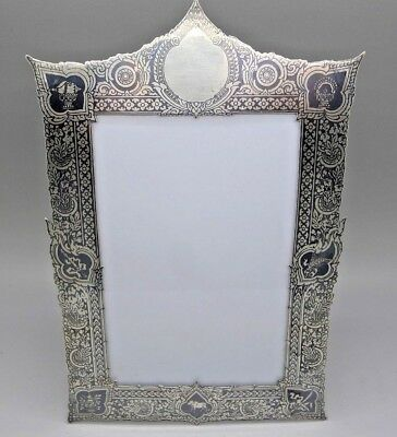 RARE Solid Silver Niello Antique Tall Picture Frame Middle East India Must See