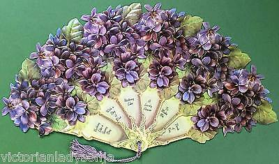 Violet Flowers Victorian Paper Fan Greeting Card Any Occasion Old Print Factory