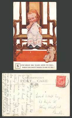 MABEL LUCIE ATTWELL Old Postcard Dog Puppy Tears Fall You Don't Write To Me 2420