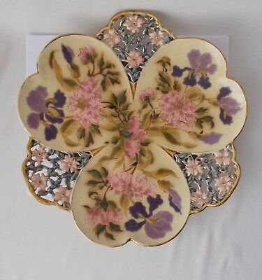 1800s Zsolnay Pecs Hungarian Hungary Reticulated Floral Plate Charger