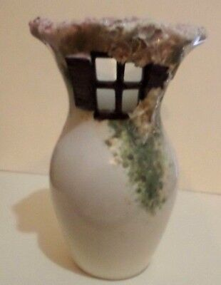 Old Rare Embossed Cottage Ceramic Wall Pocket Hand Made In Ibiza 17 Cm High