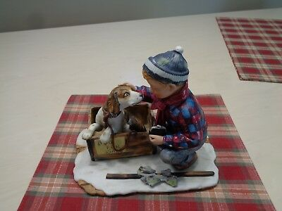 Norman Rockwell Figurines  A Boy Meets His Dog   1972 Four Seasons Series No. 1