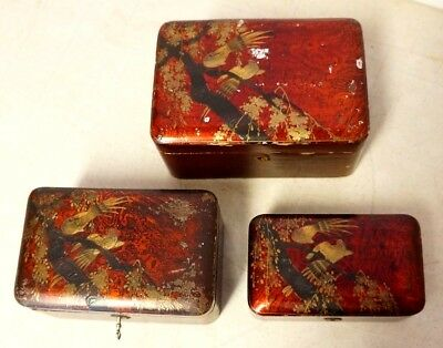 3 Antique Japanese Red (Vermillion) Lacquer Wood Locking Boxes Hand Painted