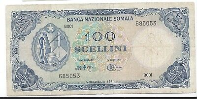 Somalia 1971  100 Scellini  Pick 16a VF scarce issue