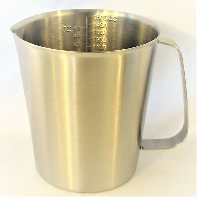 Stainless Steel Beaker Cup Mug 500-2000 ml 16-64 oz Lab Measuring Pitcher Handle