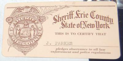 Erie County New York Sheriff ID Card w/union label Free Shipping