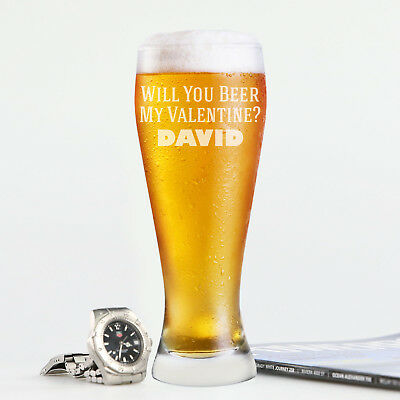 Valentine's Day Personalised Engraved Beer Glass 425ml Gift Present for Him